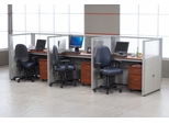 "Privacy Cubicle Panel Station, 1X3 Layout, 47""H, 48""W, Polycarbonate Panel Tops - OFM - T1X3-4748-P"
