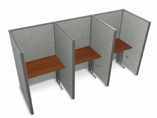 "Privacy Cubicle Panel Station, 1X3 Layout, 63""H, 36""W, Vinyl Panels - OFM - T1X3-6336-V"
