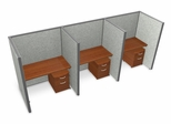 "Privacy Cubicle Panel Station, 1X3 Layout, 63""H, 48""W, Vinyl Panels - OFM - T1X3-6348-V"