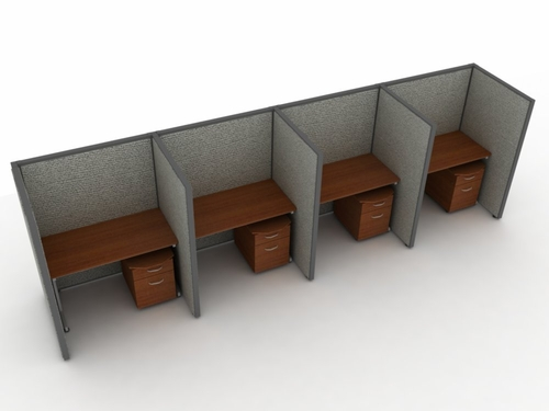 Privacy Cubicle Panel Station, 1X4 Layout, 63
