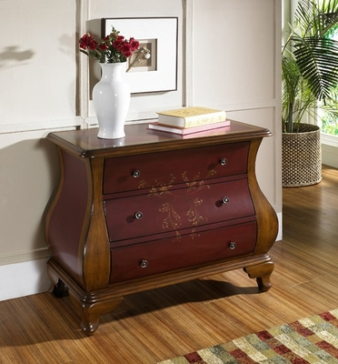 Pulaski Bombe Chest Center Stage Red and Brown - Pulaski Furniture - 704206