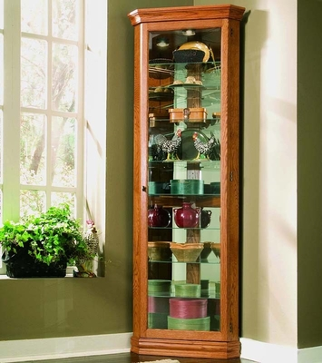 Pulaski Golden Oak Corner Curio Cabinet - Pulaski Furniture - 21002