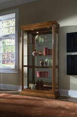 Pulaski Golden Oak Two Way Sliding Door Curio Cabinet - Pulaski Furniture - 20544