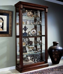 Pulaski Medallion Cherry Two Way Sliding Door Curio Cabinet - Pulaski Furniture - 20485