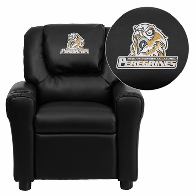 Purdue University Calumet Peregrines Embroidered Black Vinyl Kids Recliner - DG-ULT-KID-BK-41063-EMB-GG