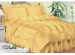 Queen Bed Sheet Set - Charmeuse II Satin 230TC Woven Polyester in Gold - 100QCB2GOLD