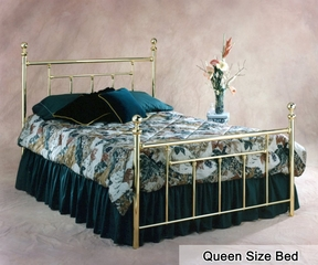 Queen Size Bed - Chelsea Metal Bed in Classic Brass
