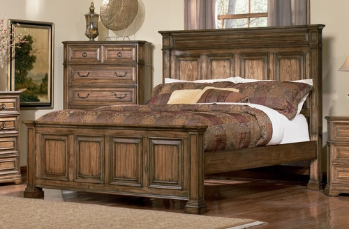 Queen Size Bed - Edgewood Queen Size Bed in Warm Brown Oak - Coaster - 201621Q
