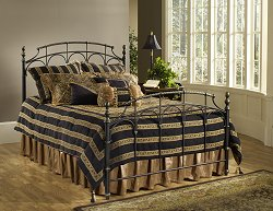 Queen Size Bed - Ennis Queen Size Bed in Rubbed Gold and Satin Beige - Hillsdale