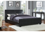 Queen Size Bed in Black Vinyl - Coaster - 300250Q