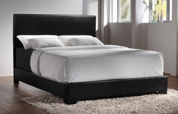 Queen Size Bed in Black Vinyl - Coaster - 300260Q