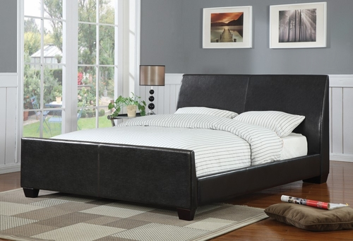 Queen Size Bed in Brown Vinyl - Coaster - 300251Q