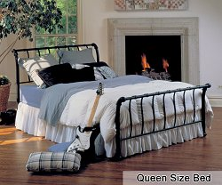 Queen Size Bed - Janis Metal Bed in Textured Black
