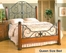 Queen Size Bed - Leland Metal Bed in Rust and Brown Cherry