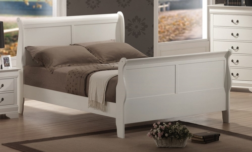 Queen Size Bed - Louis Philippe Queen Size Bed in White - Coaster - 201691Q