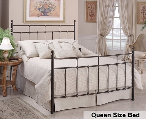 Queen Size Bed - Providence Metal Bed in Antique Bronze