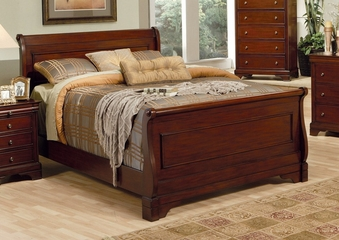 Queen Size Bed - Versailles Queen Size Bed in Deep Mahogany - Coaster - 201481Q
