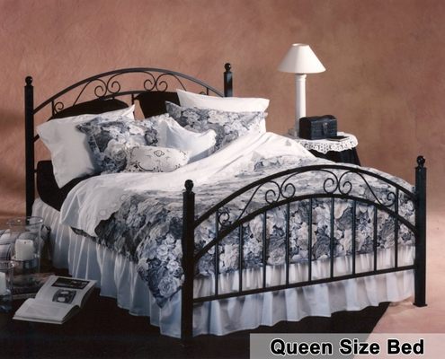 Queen Size Bed - Willow Metal Bed in Textured Black