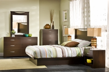 Queen Size Bedroom Furniture Set 71 in Chocolat - Step One - South Shore Furniture - 3159-BSET-71