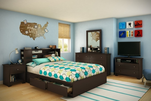 Queen Size Bedroom Furniture Set 71 in Chocolate - Vito - South Shore Furniture - 3119-BSET-71
