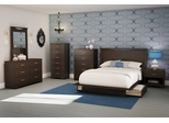 Queen Size Bedroom Furniture Set 73 in Chocolat - Step One - South Shore Furniture - 3159-BSET-73