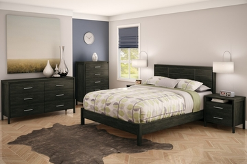 Queen Size Bedroom Furniture Set 81 in Ebony - Gravity - South Shore Furniture - 3577-BSET-81
