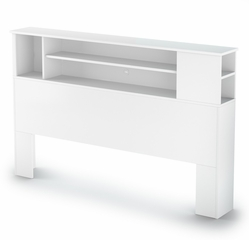 Queen Size Bookcase Headboard in Pure White - Vito - South Shore Furniture - 3150092