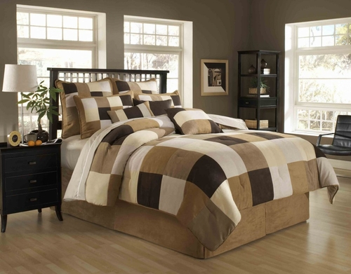 Queen Size Comforter Set - 11 Piece Set in Asbury Park Pattern - 82EQ712ABY