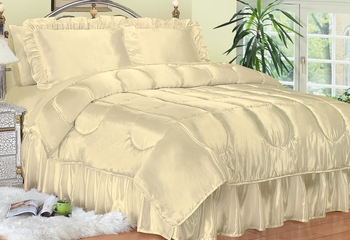 Queen Size Comforter Set - Charmeuse Satin 4-Piece in Bone - 450QN2BONE