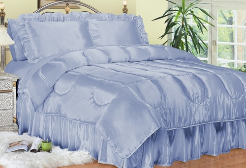 Queen Size Comforter Set - Charmeuse Satin 4-Piece in French Blue - 450QN2FBLU