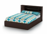 Queen Size Mates Bed with Headboard in Chocolate - Vito - South Shore Furniture - 3119210-092