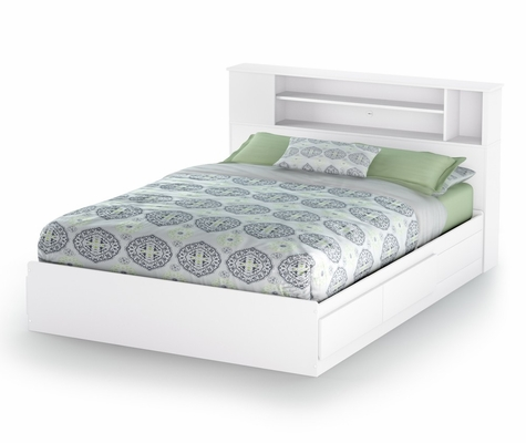 Queen Size Mates Bed with Headboard in Pure White - Vito - South Shore Furniture - 3150210-092
