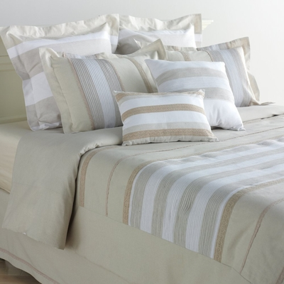 Queen Size Mini Duvet Cover Set - Cinnamon 3 Piece Set in Natural / Ivory - CINN-QUEEN-DUVET-SET