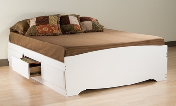 Queen Size Platform Storage Bed in White - Monterey Collection - Prepac Furniture - WBQ-6200