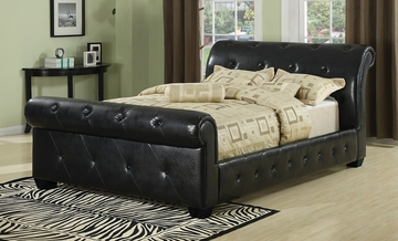 Queen Size Sleigh Bed in Black Vinyl - Coaster - 300240Q