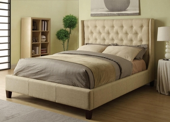 Queen Size Upholstered Bed in Tan - 300332Q