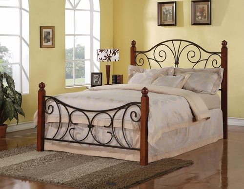 Queen Size Wood with Metal Headboard & Footboard - 300255Q