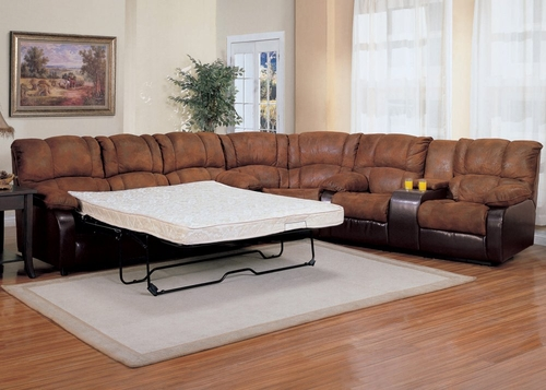 Queen Sleeper Sofa Set - 3 Piece in Palomino Brown Fabric with Dark Brown - Coaster