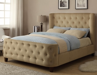 Queen Tan Velvet Bed with Button Tufting - 300248Q