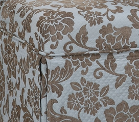 "Quilted Powder Blue with Raised Brown Chenille Flowers Skirted ""Slip Over"" (Fits 741-440 Chair) - Powell Furniture - 741-225Z"