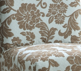 "Quilted Powder Blue with Raised Brown Chenille Flowers ""Slip Over"" for Counter Stool or Bar Stool - Powell Furniture - 742-224Z"