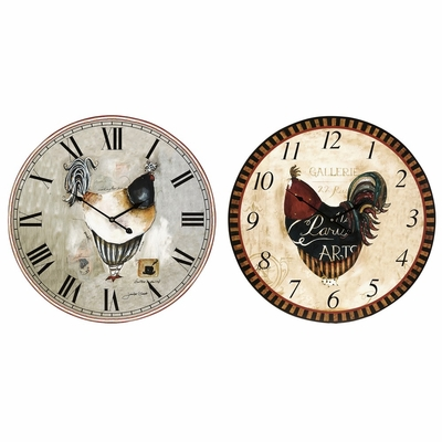 Ralla Rooster Clocks (Set of 2) - IMAX - 37003-2