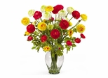 Ranunculus Liquid Illusion Silk Flower Arrangement in Mixed - Nearly Natural - 1087-AS