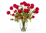 Ranunculus Liquid Illusion Silk Flower Arrangement in Red - Nearly Natural - 1087-RD