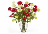 Ranunculus Liquid Illusion Silk Flower Arrangement in Red / White - Nearly Natural - 1087-RW