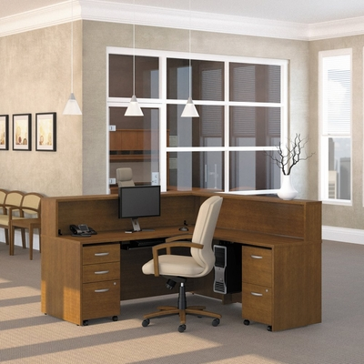 Reception Desk Set - Series C Warm Oak Collection - Bush Office Furniture - SC-RDESK-WO