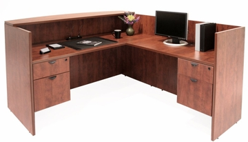 Reception L-Shaped Desk with 2 Peds - Legacy Laminate - LRDRT2BF