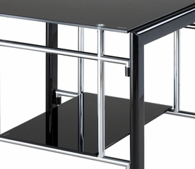 "Rectangular End Table - ""Gloss Black"" and ""Gloss Silver"" - Powell Furniture - 629-210"