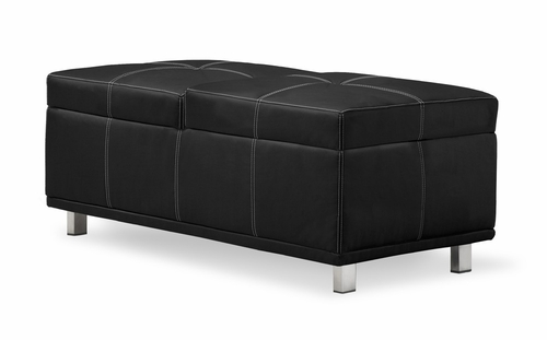Rectangular Ottoman in Black - Quadro - QA-CRM-FA-BK