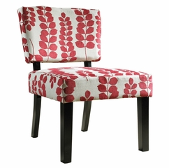 Red and Cream Floral Oliver Accent Chair - Powell Furniture - 741-822